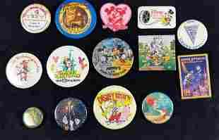 14 Vintage Disneyworld Disneyland Pinback Buttons