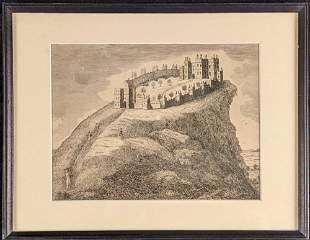 Vintage Framed Etching Castle And Peasants