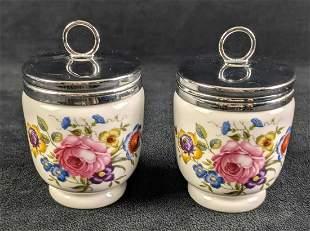 Two Vintage Royal Worcester Porcelain Egg Coddlers