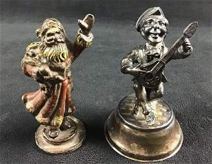 Lot of 2 Metal Silver Plated Figurines Spain Vintage