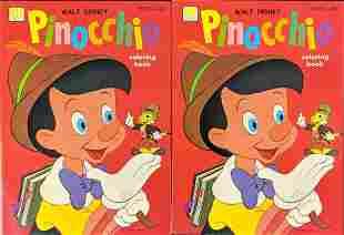 Two Vintage Disney Whitman Pinocchio Coloring Books