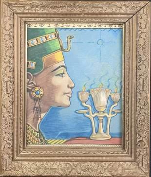 Original Framed Colored Pencil Egyptian Queen