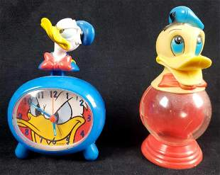Vintage Donald Duck Alarm Clock and Plastic Coin Bank