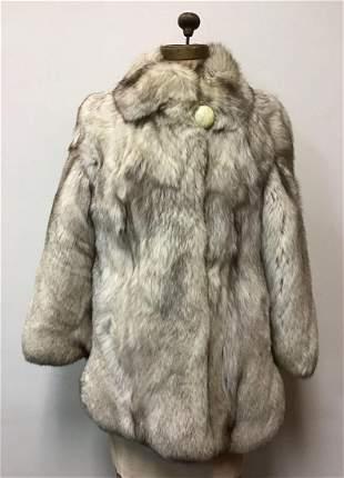 Marble Arctic Fox Fur Coat Jacket Vintage Fashion