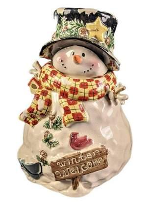 Vintage Style Ceramic Christmas Snowman Cookie Jar