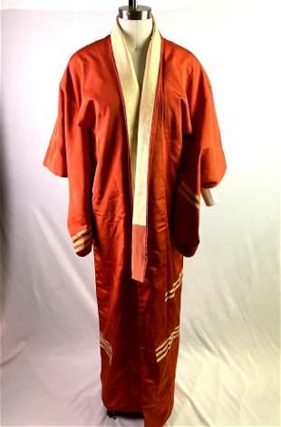 Vintage Orange / Gold Iro Muji (色無地) Kimono