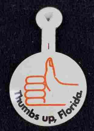 27 Vintage Thumbs Up Florida Tin Buttons