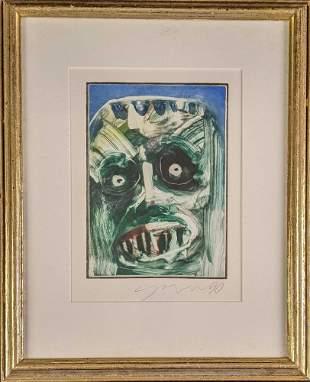 Framed Original Watercolor Monster