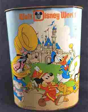 Walt Disney World Disneyland Tin Waste Basket Trash Can