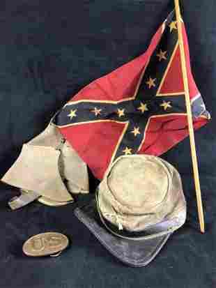 Civil War Reenactor Hat, Gaiters, Belt and Flag