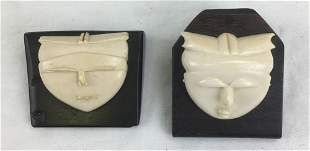 2 Vintage Carved Masks Mounted on Ebony in Japanese