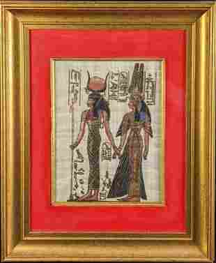 Framed Egyptian Hathor Isis Hand Painted Papyrus Art
