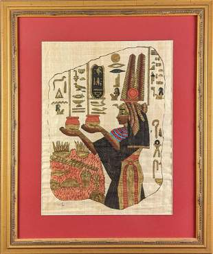 Egyptian Hieroglyphic Framed Hand Painted Papyrus Art