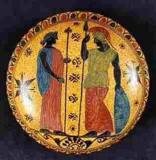 Hand Painted Ceramic Ancient Corinth Style Trinket Box