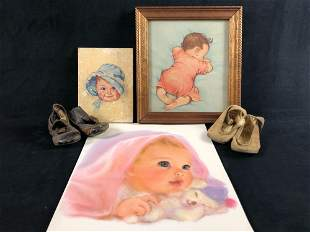 Antique Baby Shoes & Baby Lithograph Maud Prints