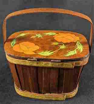 Vintage Putney Basketville Basket Hand Painted Purse
