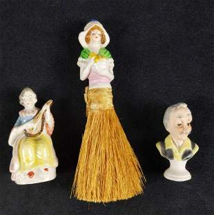 Vintage Hand Painted Porcelain Figurines Lot Of 3