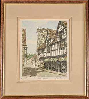 Framed LE Glyn Martin Much Wenlock Lithograph