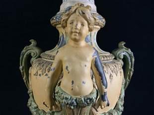 Antique French Spelter Metal Urn Vase Cherub Lamp B