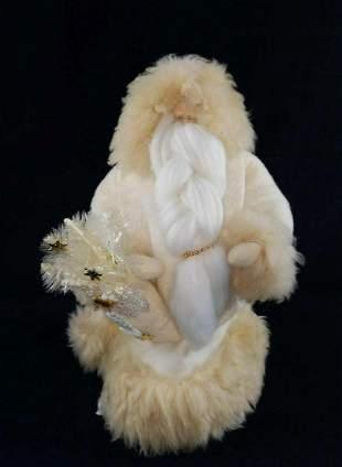 Festive White Christmas Handmade Santa Claus Figure
