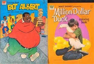 2 Vintage Coloring Books Disney Duck Fat Albert