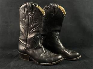 Vintage Stewart Boot Co Black Soft Leather Western