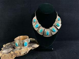 Vintage Sterling Silver Egyptian Turquoise Scarab