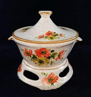Vintage Ceramic Cal Original Warming Soup Tureen