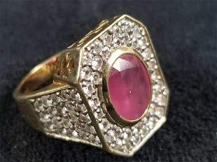 14K Gold Ruby and White Sapphires Ring Size 7