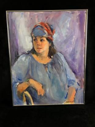 """Vintage Original Signed Jeanne Schubert Oil On Canvas """""""