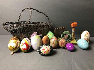 Vintage Mixed Lot Of Hand Painted ,Wood ,Stone, Egg