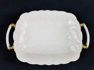 Elegant Lennox White And Gold Serving Tray With Handles