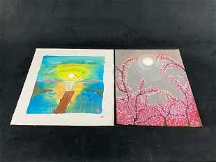 Original Signed Leida Diaz Acrylic On Canvas Nature &