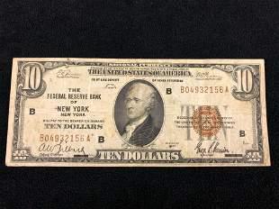 1929 B $10 New York Federal Reserve Bank Brown Seal