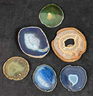 Six Different Colored Agate Slabs