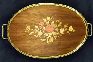 Mid Century Italian Wood Inlaid Floral Serving Tray