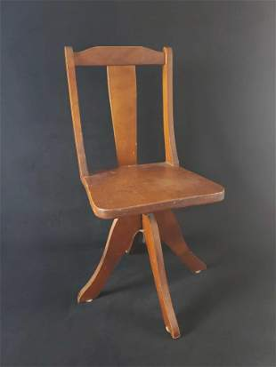 1940s Wooden Rotating Childs Chair