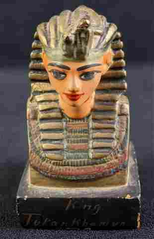 Vintage Hand Made Painted Ceramic King Tut Bust