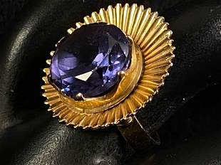 Beautiful Antique Middle Eastern 21K Gold Amethyst