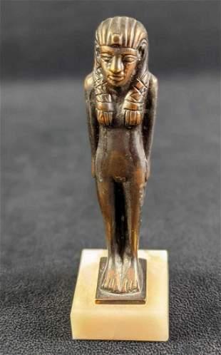 Vintage Bronze Egyptian Girl Figurine On Marble Base