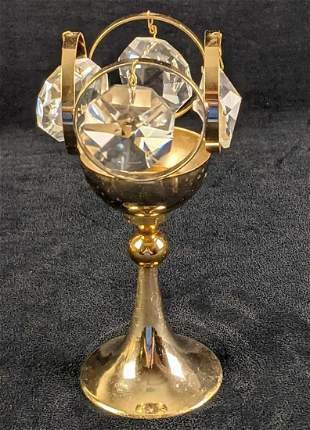 German Gold Plate Kristall Tealight Candle Holder