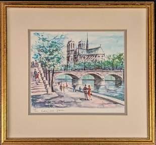 Vintage Paris Notre Dame Alside Watercolor Print By