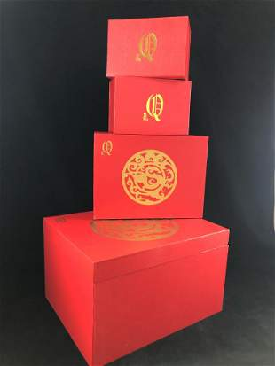 Nesting Boxes Red Hong Kong Chinese Gold Four
