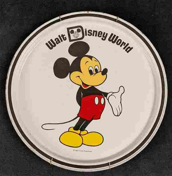 Vintage Hangable Disney World Mickey Mouse Round Tin