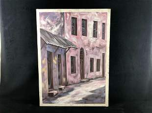 """Original Oil On Canvas Signed Kitumbo """"Stone Town"""""""