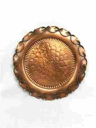 Vintage Gregorian Copper Platter, Hand Hammered, Marked