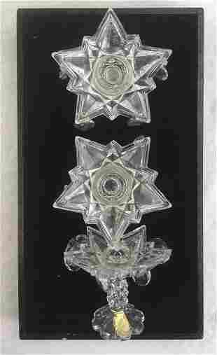Set of 3 Vintage German Lead Crystal Candle Sticks,