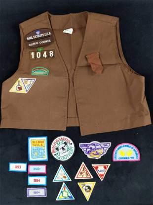 Girl Scout Vest Uniform And Merit Badges 1990s