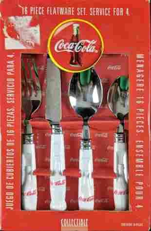 Coca Cola Contour Bottle 16 Piece Flatware White