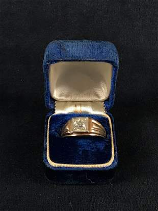 14K Gold Diamond Signet Ring